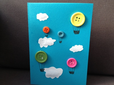 Button, balloon, hot air balloon, kids, birthday card