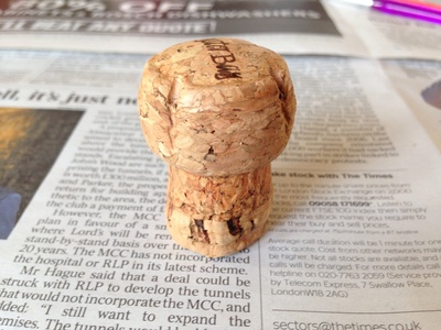 Champagne cork, red and white paint, kids craft