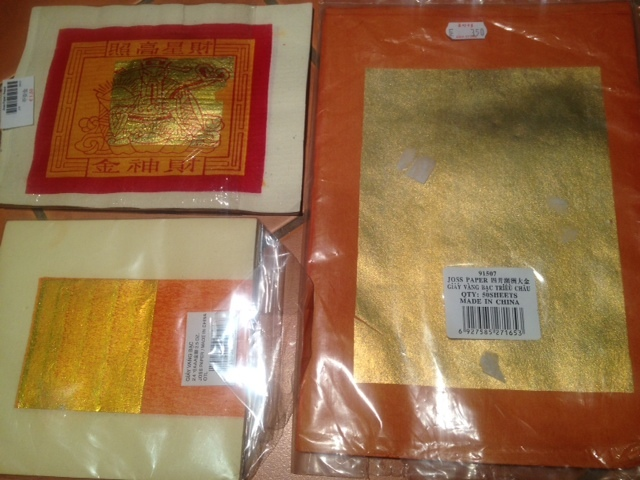 Chinese joss paper, chinese funeral paper, gold and orange joss paper, chinese joss money paper  - Joss Paper Cat Picture