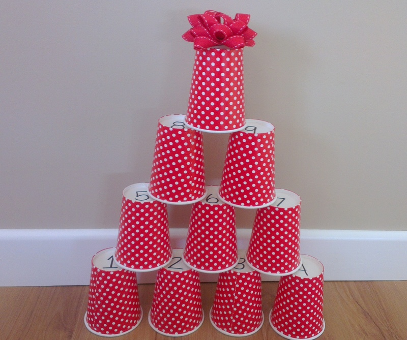 Christmas Tree Made Of Plastic Cups: Count And Stack Christmas Tree