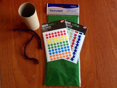 Craft materials, green tissue, stickers