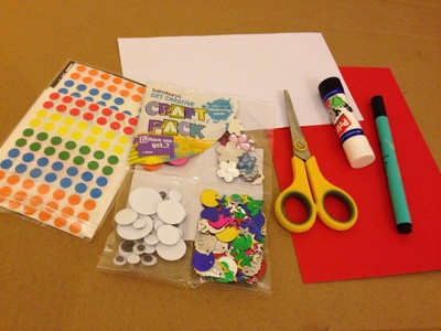 Craft materials, kids craft, preschooler, art materials to make a card