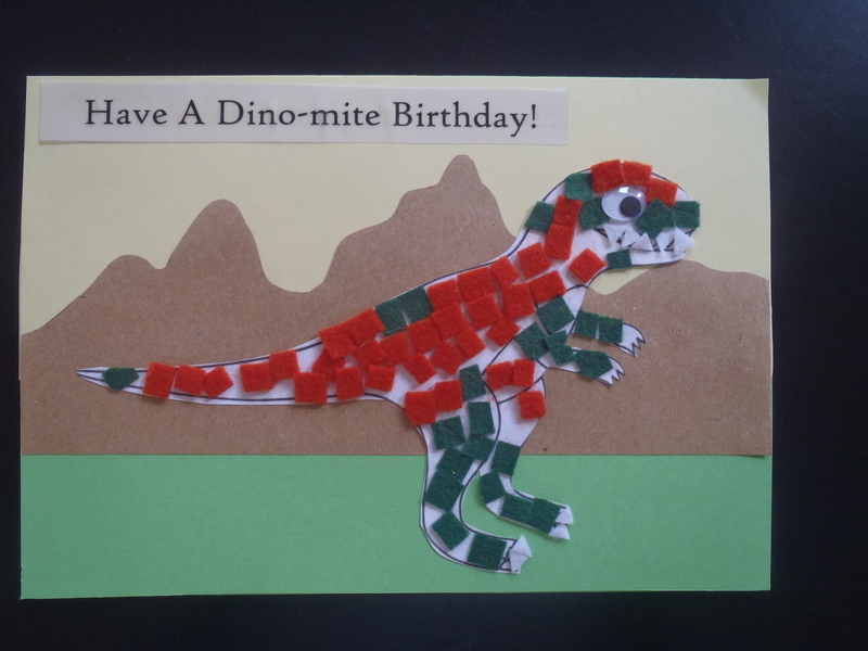 Dino card  - Felt Mosaic Pictures