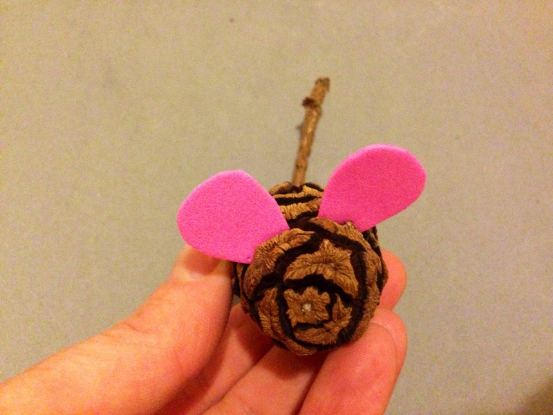 Foam, materials to make pine cone mouse, kids craft, mouse craft  - Pine Cone Mouse