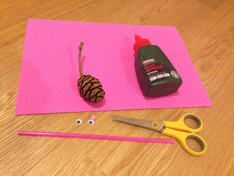 Foam, materials to make pine cone mouse, kids craft, mouse craft