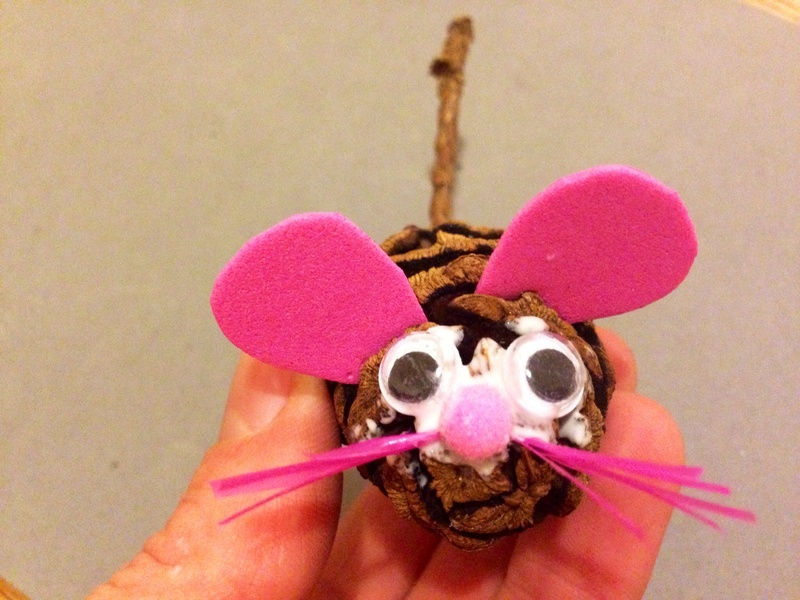 Google eyes stuck on mouse  - Pine Cone Mouse