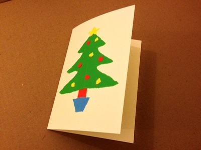 Paper craft card, kids Christmas card, Christmas tree outline