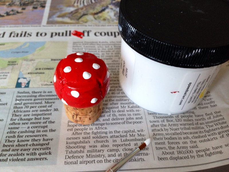 Champagne cork, red and white paint, kids craft  - Champagne Cork Fairy Toadstool