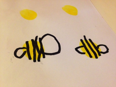 Preschooler bumble bee, bumble bee, drawing a bee, bee craft, bumble bee craft idea
