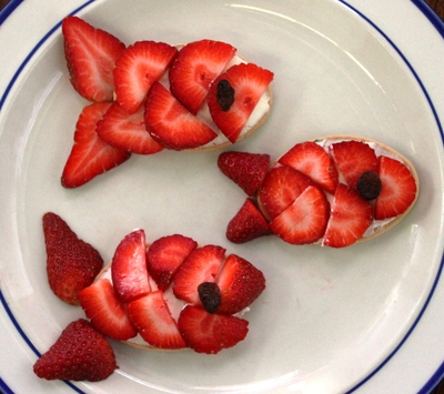 Strawberry, fish, biscuits