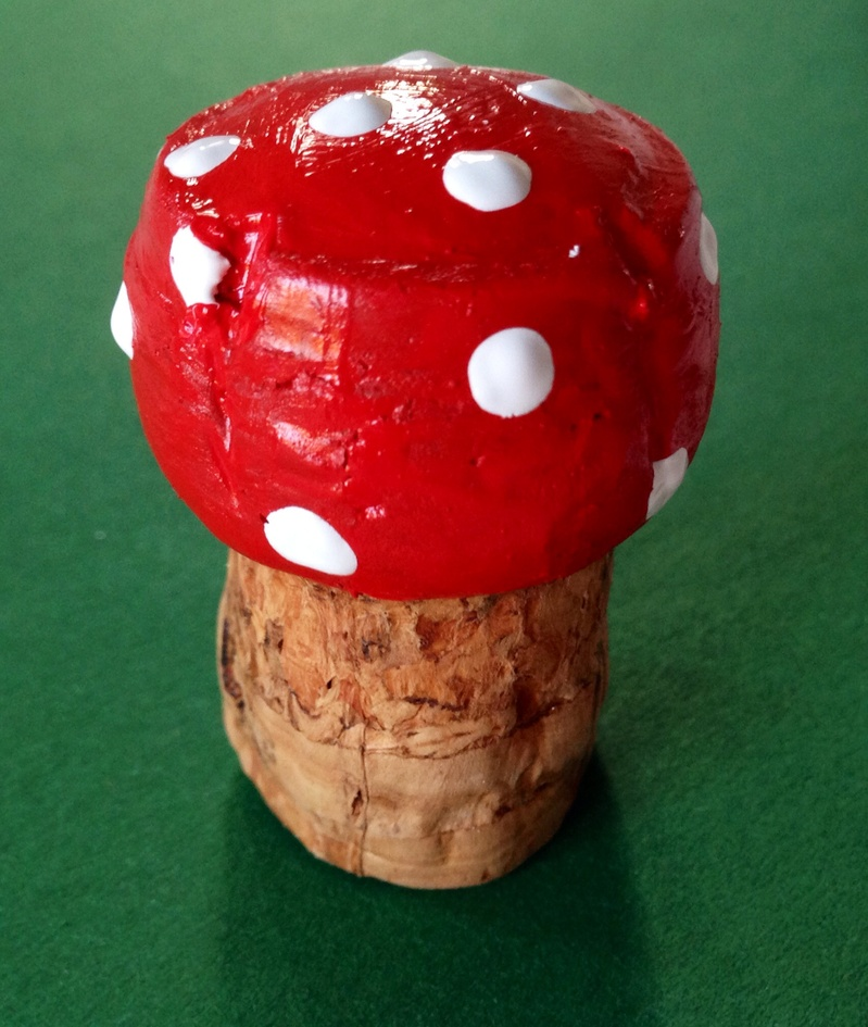 How to make a toadstool from a cork, toadstool craft, fairy mushroom craft, easy toadstool, toadstool art ideas, toadstool kids craft ideas  - Champagne Cork Fairy Toadstool