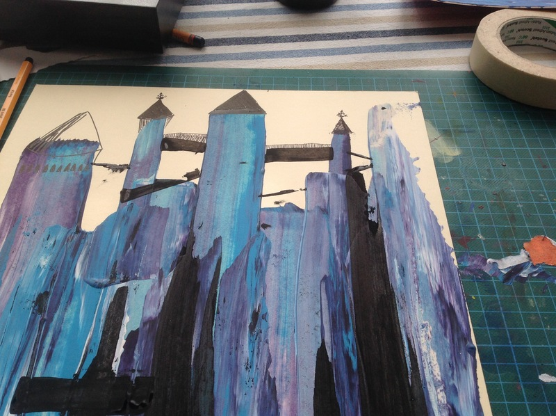 Acrylic paint, blue, black, white, purple, spooky castle 
