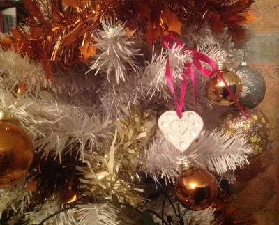Air-dry clay Christmas decorations, ribbon, heart, Christmas tree