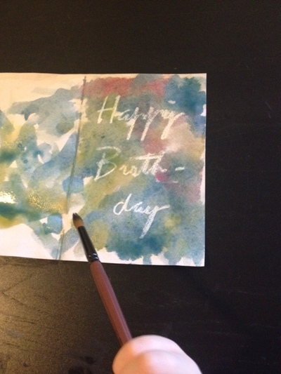 watery paint used for birthday card