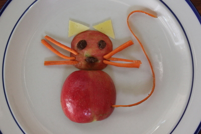 Apple cat, lunch, snacks