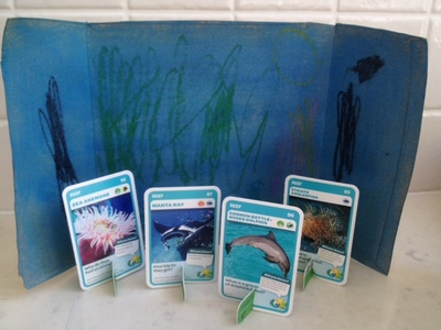 aussie animals craft scene, cheap preschooler craft, easy preschooler craft ideas, under the sea scene with cards