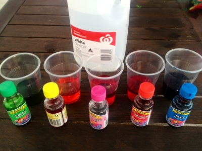 baking soda coloured vinegar food colouring