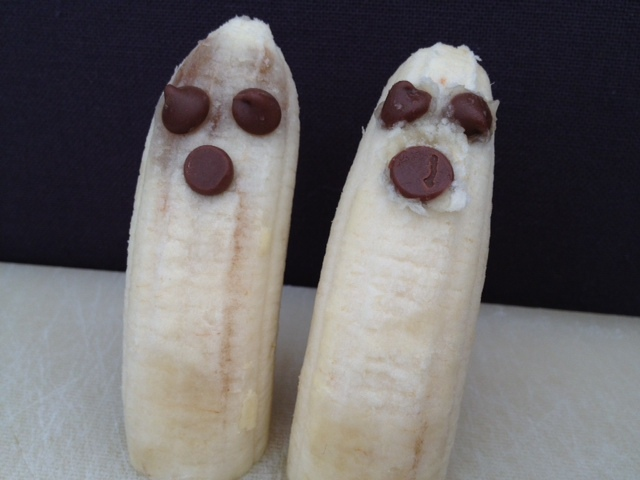 banana, ghost, goul, halloween, party food
