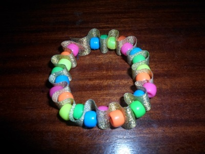bead and ribbon bracelet, bracelet craft