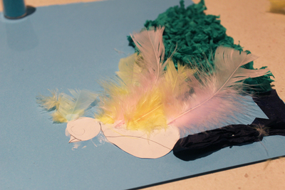 bird picture, kids crafts, arts and crafts, crepe paper bird