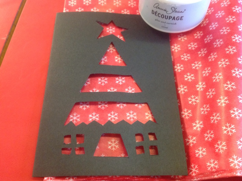 Black card, blocky Christmas tree design  - Stained Glass Window Christmas Card