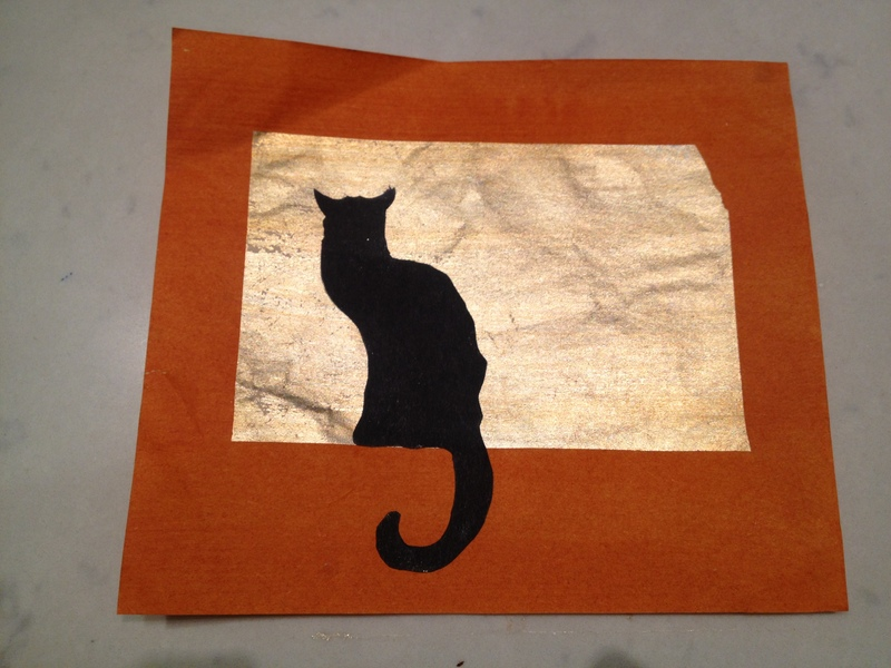 black cat card, black cat silhouette