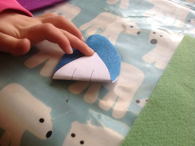 Blue felt mouse shape
