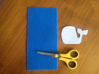 blue felt template for purse