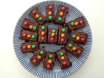 Brownie, chocolate, traffic lights, party food