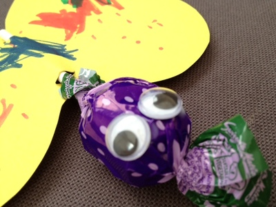 butterfly, card, lolly, sweet, preschool, toddler, googly eyes