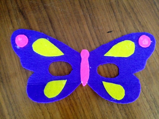 butterfly mask, butterfly, mask, felt butterfly mask, felt mask, kids butterfly dress up, fancy dress butterfly mask, easy felt mask, no-sew felt mask