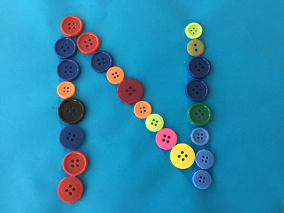 Button art, letter, N