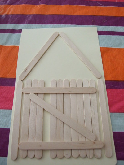 card, popsicle sticks, gate