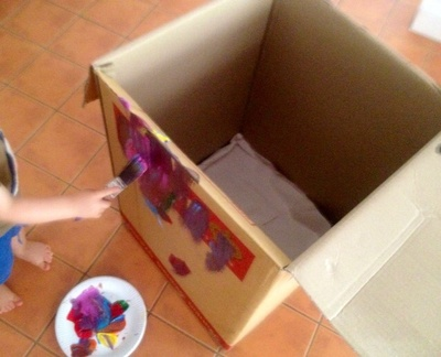 Cardboard box printing, toddler craft ideas, unusual print ideas, toddler art