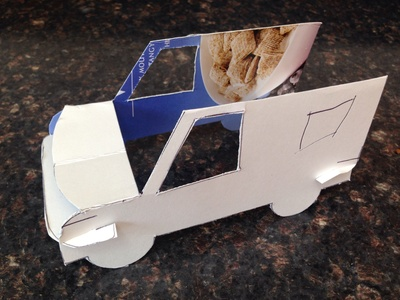 Cardboard car, cardboard car from kids drawing