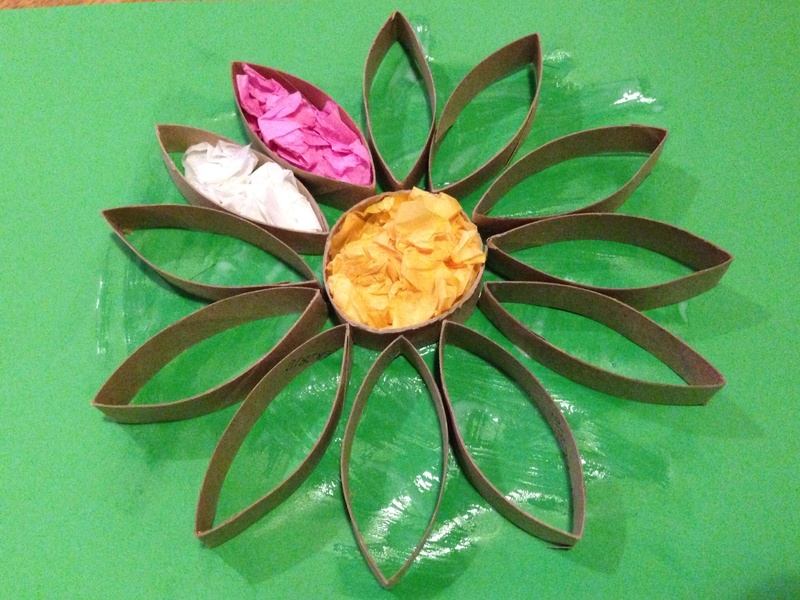 Cardboard Tube Flower Picture Toilet Roll Craft Kids TP
