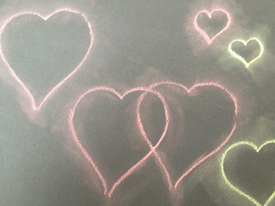 Chalk, art, blur, heart, valentine