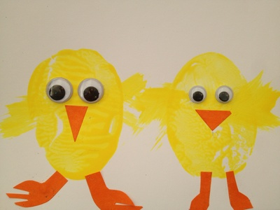 Chick, Easter, potato print, stamp, easy, preschool