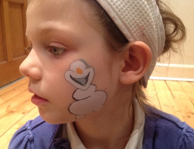 Child, white face paint, black face paint, Olaf, Frozen, Disney