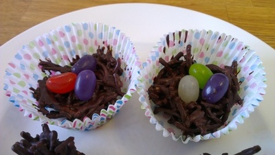 chocolate birds nest, easter treats, easy kids recipe
