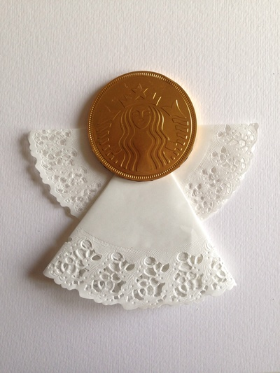 Chocolate coin angel decoration, doily angel, Christmas kids craft, homemade Christmas decorations kids, angel decoration preschool