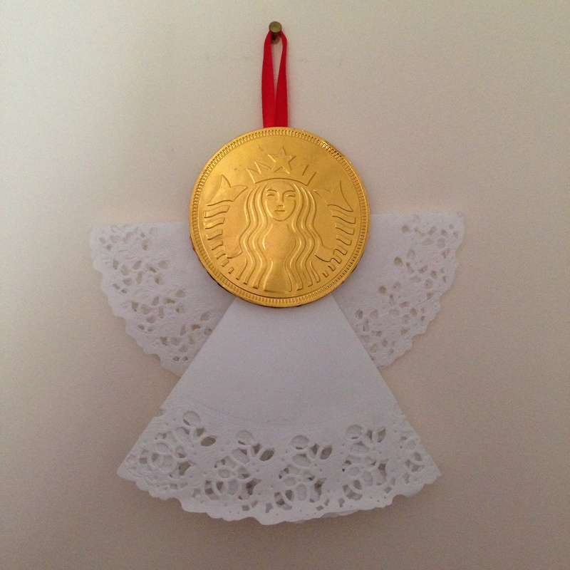 Chocolate Coin Angel Decoration Doily Angel Christmas