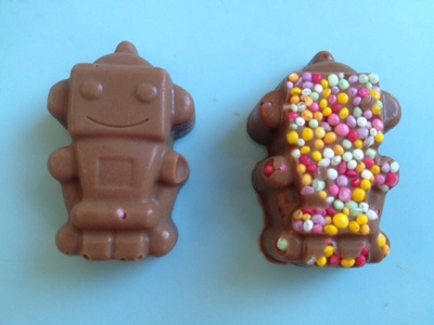 chocolate robot, novelty chocolate, chocolate with sprinkles, kids chocolate, kids treat, chocolate treat, homemade chocolatestreat