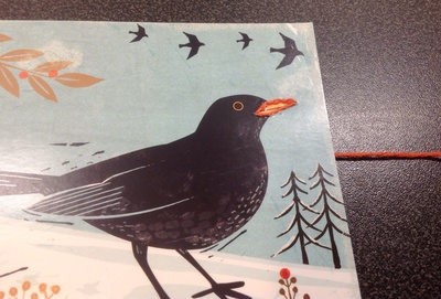 Christmas card, blackbird, trees, wintry scene