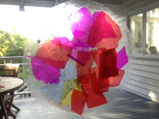 circle stained glass window, tissue paper suncatcher, kids craft activity  - Stained Glass Effect Suncatcher