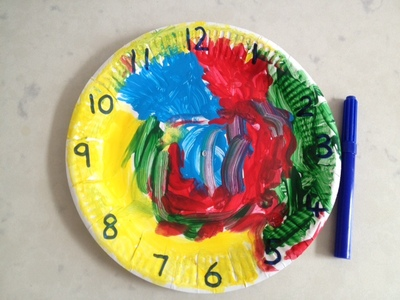 clock numbers, writing numbers on clock, paper plate clock, clock, time, numbers, colourful clock, clock craft ideas