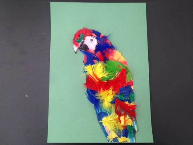 colourful parrot in a leafy jungle greeting card gluing