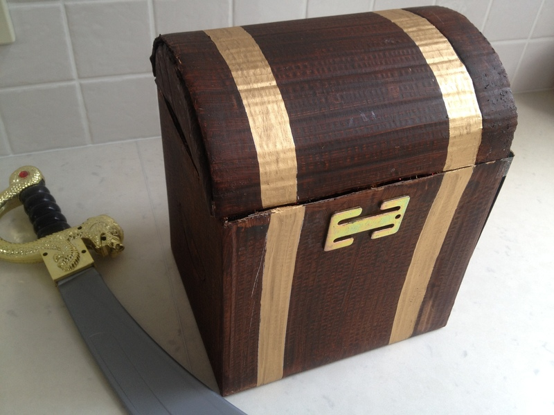 painting pirate treasure chest, gold bands on treasure chest  - Pirate Treasure Chest