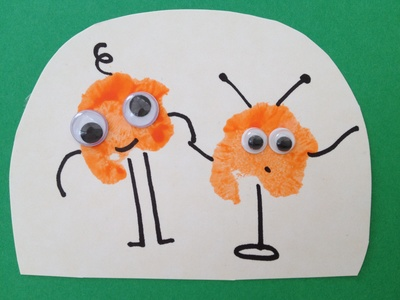 Cotton wool, painting, birthday card, pre school, alien