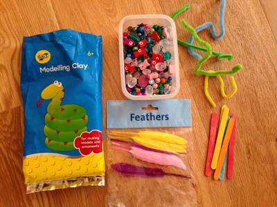 Craft materials, kids craft, clay feathers pipe cleaners